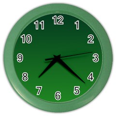 Dark Green To Green Gradient Wall Clock (Color)