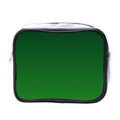 Dark Green To Green Gradient Mini Travel Toiletry Bag (one Side)