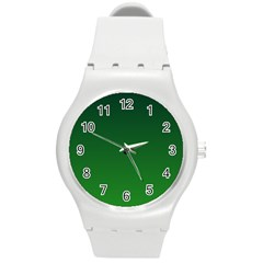 Dark Green To Green Gradient Plastic Sport Watch (medium)