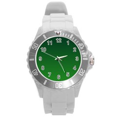 Dark Green To Green Gradient Plastic Sport Watch (Large)