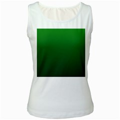 Green To Dark Green Gradient Womens  Tank Top (White)
