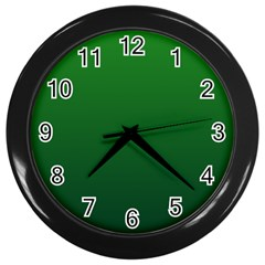 Green To Dark Green Gradient Wall Clock (black)