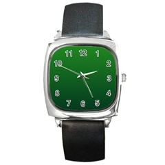 Green To Dark Green Gradient Square Leather Watch