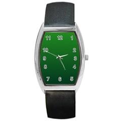 Green To Dark Green Gradient Tonneau Leather Watch
