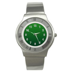 Green To Dark Green Gradient Stainless Steel Watch (Unisex)