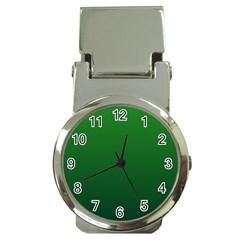 Green To Dark Green Gradient Money Clip with Watch