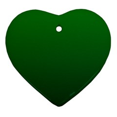 Green To Dark Green Gradient Heart Ornament (two Sides)
