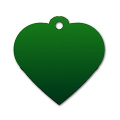Green To Dark Green Gradient Dog Tag Heart (One Sided)
