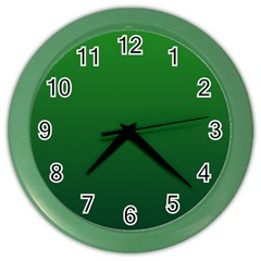 Green To Dark Green Gradient Wall Clock (Color)