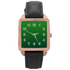 Green To Dark Green Gradient Rose Gold Leather Watch