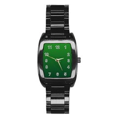 Green To Dark Green Gradient Men s Stainless Steel Barrel Analog Watch