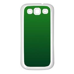 Green To Dark Green Gradient Samsung Galaxy S3 Back Case (White)