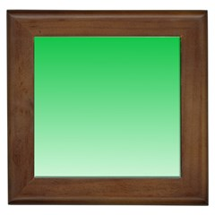 Dark Pastel Green To Pastel Green Gradient Framed Ceramic Tile