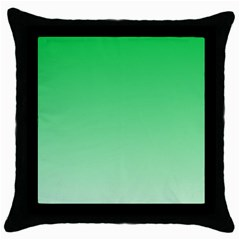 Dark Pastel Green To Pastel Green Gradient Black Throw Pillow Case