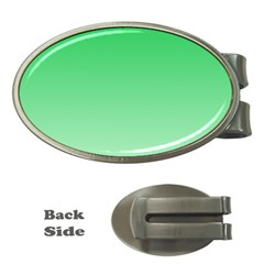 Dark Pastel Green To Pastel Green Gradient Money Clip (Oval)