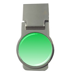 Dark Pastel Green To Pastel Green Gradient Money Clip (round)