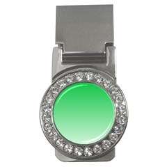 Dark Pastel Green To Pastel Green Gradient Money Clip (cz)