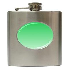 Dark Pastel Green To Pastel Green Gradient Hip Flask