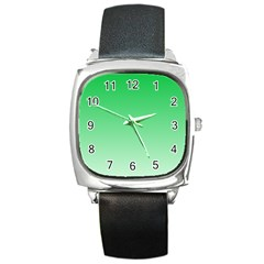 Dark Pastel Green To Pastel Green Gradient Square Leather Watch