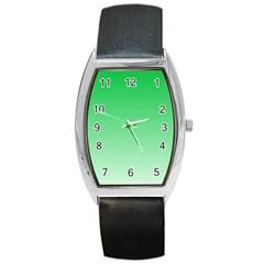 Dark Pastel Green To Pastel Green Gradient Tonneau Leather Watch
