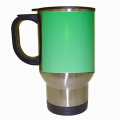 Dark Pastel Green To Pastel Green Gradient Travel Mug (White)