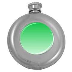 Dark Pastel Green To Pastel Green Gradient Hip Flask (round)