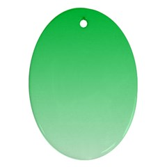 Dark Pastel Green To Pastel Green Gradient Oval Ornament (Two Sides)