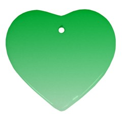 Dark Pastel Green To Pastel Green Gradient Heart Ornament (Two Sides)