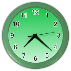 Dark Pastel Green To Pastel Green Gradient Wall Clock (Color)