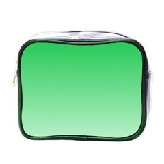 Dark Pastel Green To Pastel Green Gradient Mini Travel Toiletry Bag (one Side)
