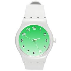 Dark Pastel Green To Pastel Green Gradient Plastic Sport Watch (Medium)