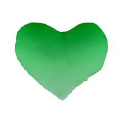 Dark Pastel Green To Pastel Green Gradient 16  Premium Heart Shape Cushion