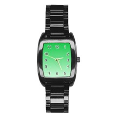 Dark Pastel Green To Pastel Green Gradient Men s Stainless Steel Barrel Analog Watch