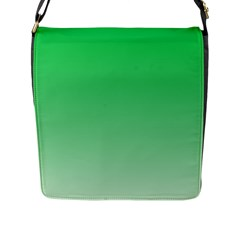 Dark Pastel Green To Pastel Green Gradient Flap Closure Messenger Bag (Large)