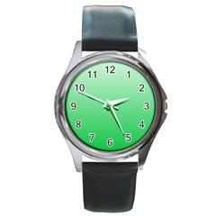 Pastel Green To Dark Pastel Green Gradient Round Metal Watch (silver Rim)