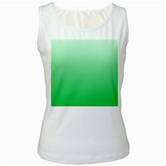 Pastel Green To Dark Pastel Green Gradient Womens  Tank Top (White)