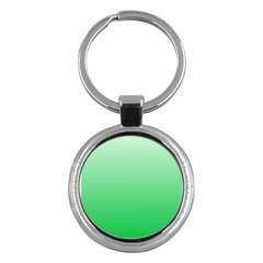 Pastel Green To Dark Pastel Green Gradient Key Chain (Round)