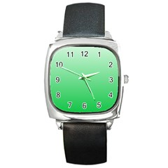 Pastel Green To Dark Pastel Green Gradient Square Leather Watch
