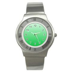 Pastel Green To Dark Pastel Green Gradient Stainless Steel Watch (Unisex)