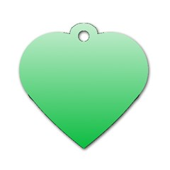 Pastel Green To Dark Pastel Green Gradient Dog Tag Heart (One Sided)