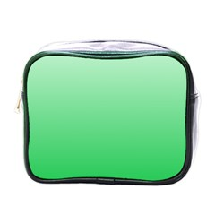 Pastel Green To Dark Pastel Green Gradient Mini Travel Toiletry Bag (one Side)