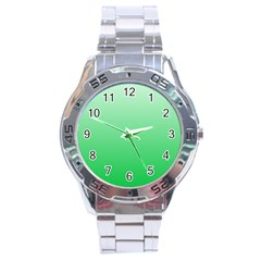 Pastel Green To Dark Pastel Green Gradient Stainless Steel Watch (Men s)