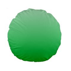Pastel Green To Dark Pastel Green Gradient 15  Premium Round Cushion