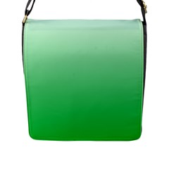 Pastel Green To Dark Pastel Green Gradient Flap Closure Messenger Bag (large)