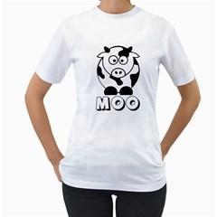 Cute Little Black and White Farm Milk Cow Moo Womens  T-shirt (White)
