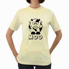 Cute Little Black And White Farm Milk Cow Moo  Womens  T Shirt (yellow)