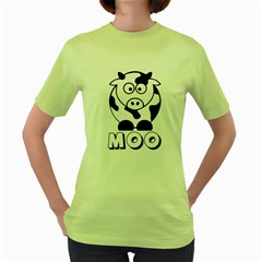 Cute Little Black and White Farm Milk Cow Moo Womens  T-shirt (Green)