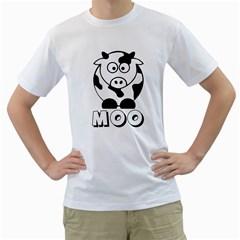 Cute Little Black And White Farm Milk Cow Moo Mens  T Shirt (white)