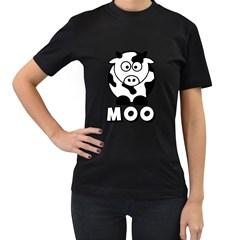 Cute Little Black and White Farm Milk Cow Moo Womens' T-shirt (Black)