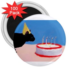 Birthday Kitty! 3  Button Magnet (100 pack)